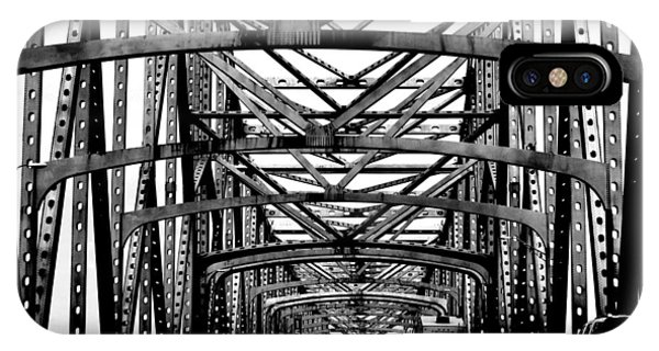 Girders Over The Mississippi In Black And White IPhone Case