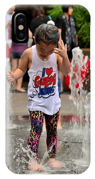 Girl Child Plays With Water At Fountain Singapore IPhone Case