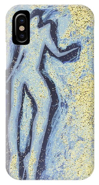 Girl Dancing In Swirling Blues And Yellows An Analog Darkoom Photographic Print Painting Phone Case by Edward Olive