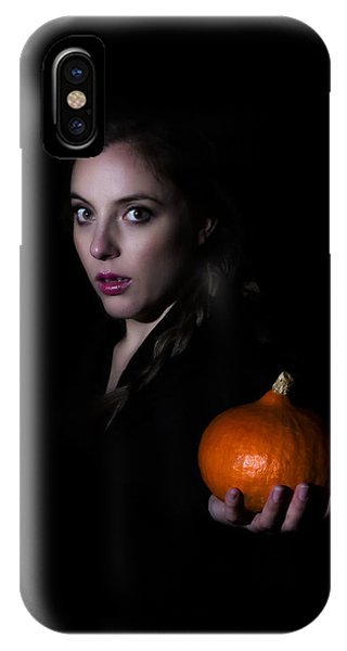 Girl Holding A Pumpkin In The Dark IPhone Case