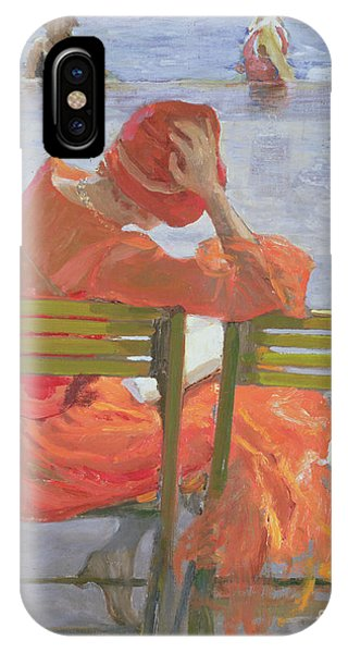 Blue Dress iPhone Case - Girl In A Red Dress Reading By A Swimming Pool by Sir John Lavery