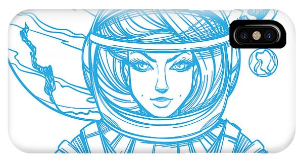 Sketch Book iPhone Case - Girl In A Spacesuit For T-shirt Design by Filkusto