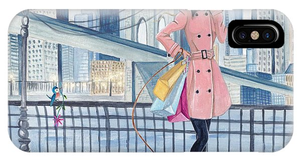 Girl In New York Phone Case by Caroline Bonne-Muller