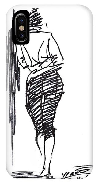 Sketch iPhone Case - Girl Leaning Against Wall by Ylli Haruni