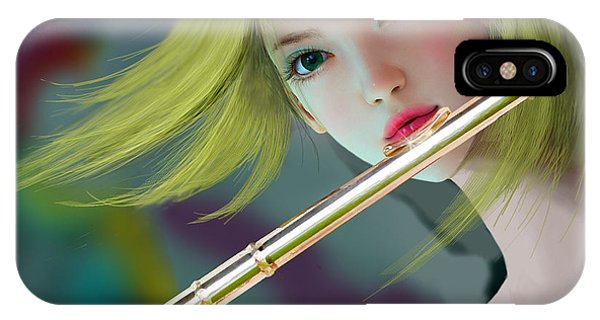 Girl Playing Flute 2 IPhone Case
