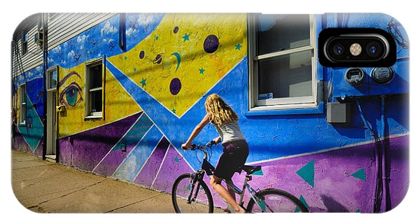 Girl Rides Bicycle Past Mural On The South Side Of Pittsburgh IPhone Case