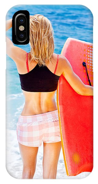 Girl Surfer On The Beach Phone Case by Anna Om