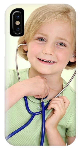 Human Interest iPhone Case - Girl Using A Stethoscope by Lea Paterson/science Photo Library