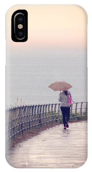 Girl Walking With Umbrella IPhone Case