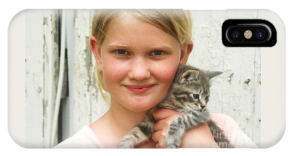 Girl With Kitten IPhone Case