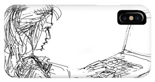 Sketch iPhone Case - Girl With Laptop  by Ylli Haruni