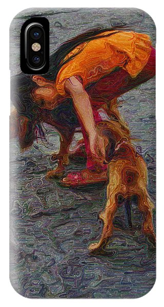 Girl With Two Dogs IPhone Case