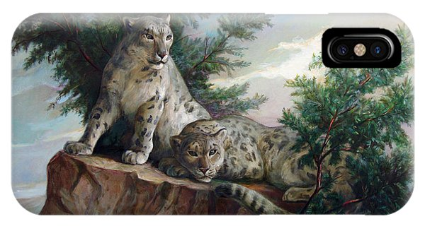 Glamorous Friendship- Snow Leopards IPhone Case