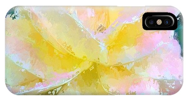 Impressionism iPhone Case - Glazed Pale Pink And Yellow Rose  by Anna Porter