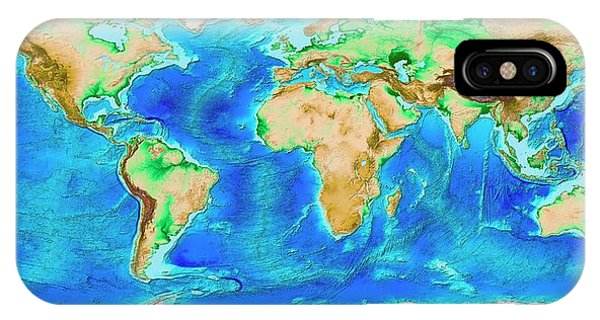 Sea Floor iPhone Case - Global Topography by Noaa/science Photo Library