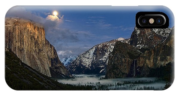 Half Moon iPhone Case - Glow - Moonrise Over Yosemite National Park. by Jamie Pham