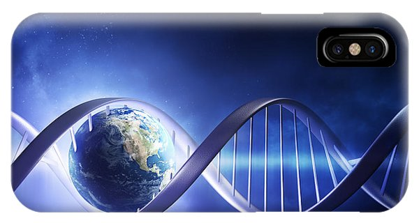 Inside iPhone Case - Glowing Earth Dna Strand by Johan Swanepoel