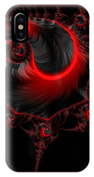 Glowing Red And Black Abstract Fractal Art IPhone Case