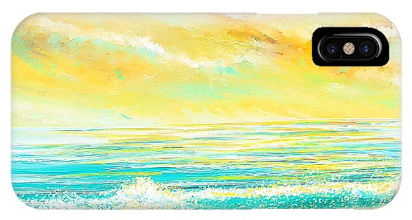 Glowing Waves - Seascapes Sunset Abstract IPhone Case