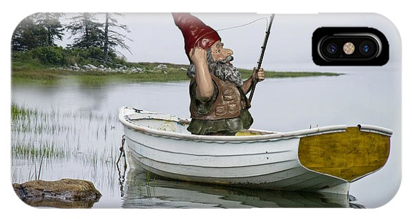Gnome Fisherman In A White Maine Boat On A Foggy Morning IPhone Case