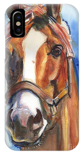 Eyes iPhone Case - Horse Painting Of California Chrome Go Chrome by Maria's Watercolor