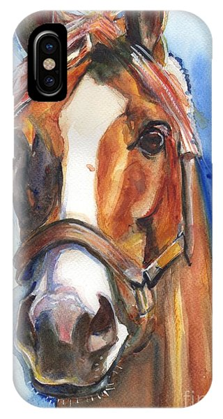 Equine iPhone Case - Horse Painting Of California Chrome Go Chrome by Maria's Watercolor