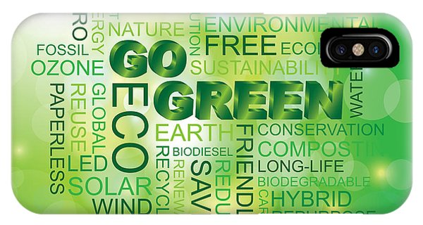 Go Green Word Cloud Green Background IPhone Case