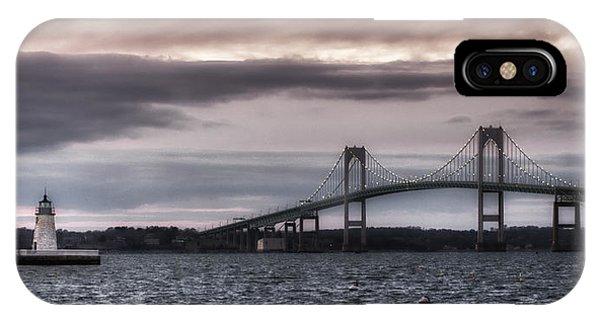 Goat Island Lighthouse And Newport Bridge IPhone Case