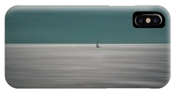 Boat iPhone Case - Going For The Horizon by Bernardine De Laat