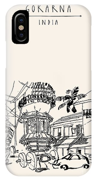 Indian Village iPhone Case - Gokarna, Karnataka, India. Vector by Babayuka