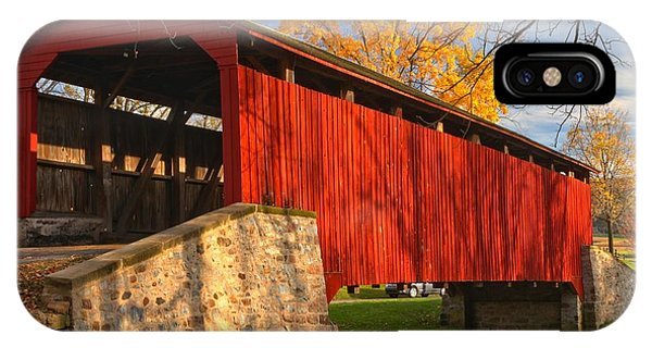 Gold Above The Poole Forge Covered Bridge IPhone Case