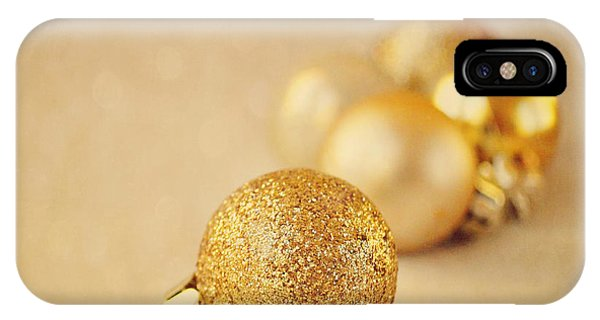 Gold Glittery Christmas Baubles IPhone Case