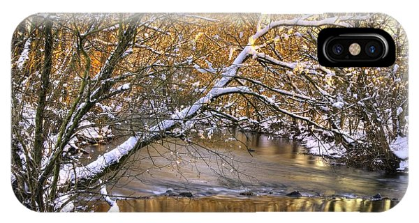 Gold In The Creek B1 - Owens Creek Near Loys Station Covered Bridge - Winter Frederick County Md IPhone Case