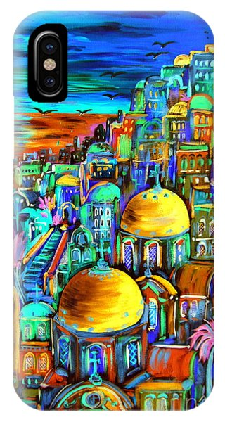 Gold On Santorini Churches IPhone Case