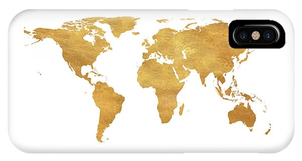 Gold iPhone Case - Gold World Map by South Social Studio