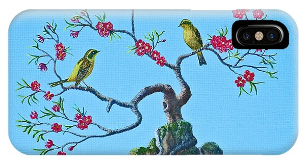 Golden Bush Robins In Old Plum Tree IPhone Case