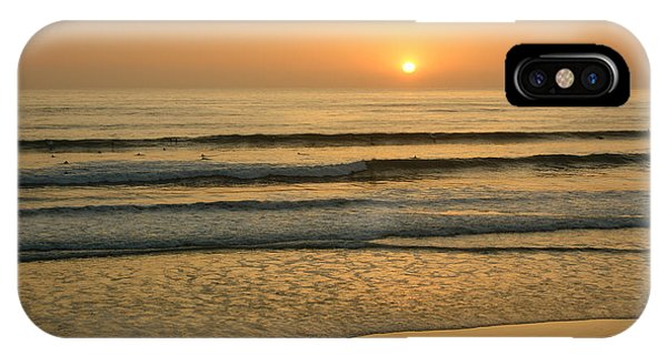 Golden California Sunset - Ocean Waves Sun And Surfers IPhone Case