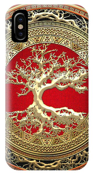 Celtics iPhone Case - Golden Celtic Tree Of Life  by Serge Averbukh