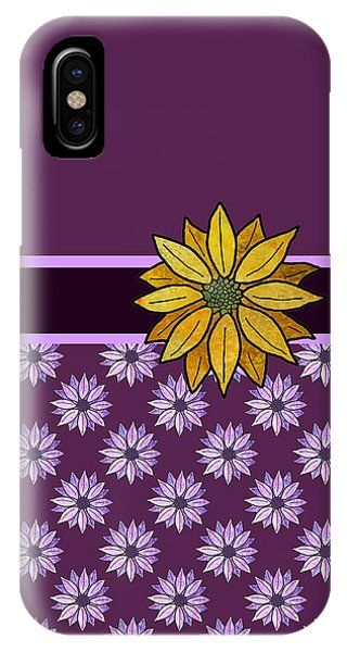 Violet iPhone Case - Golden Daisy On Plum by Jenny Armitage