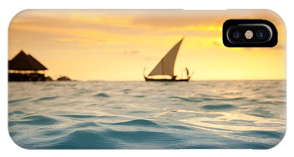 Water Ocean iPhone Case - Golden Dhoni Sunset by Sean Davey