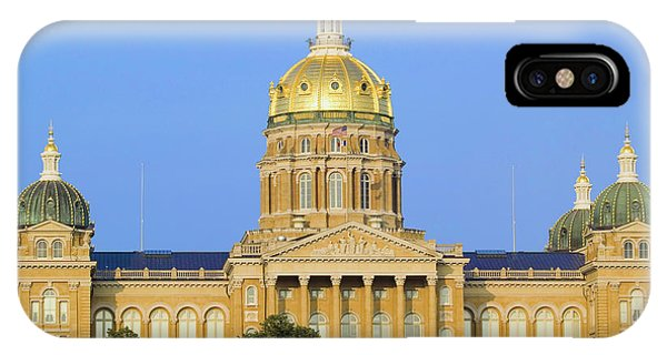 Capitol Building iPhone Case - Golden Dome Of Iowa State Capital by Panoramic Images