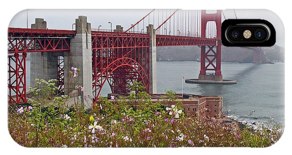 Golden Gate Bridge And Summer Flowers IPhone Case