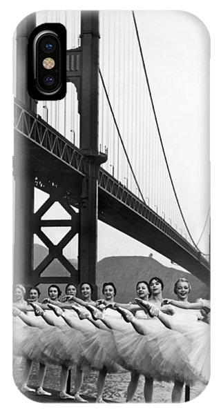 Dance iPhone Case - Golden Gate Bridge Ballet by Underwood Archives