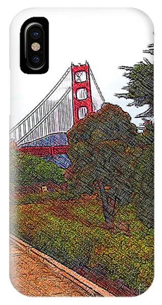 Golden Gate Bridge Crosshatch IPhone Case