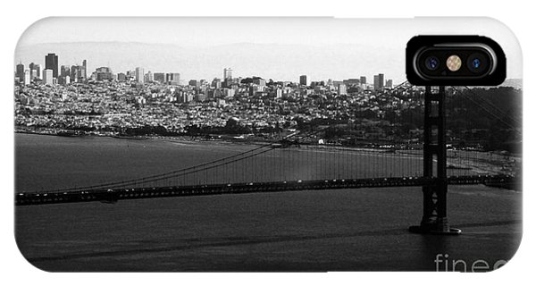 San Francisco iPhone Case - Golden Gate Bridge In Black And White by Linda Woods