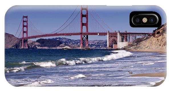 Waves iPhone Case - Golden Gate Bridge - Seen From Baker Beach by Melanie Viola