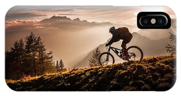 Fog Mist iPhone Case - Golden Hour Biking by Sandi Bertoncelj