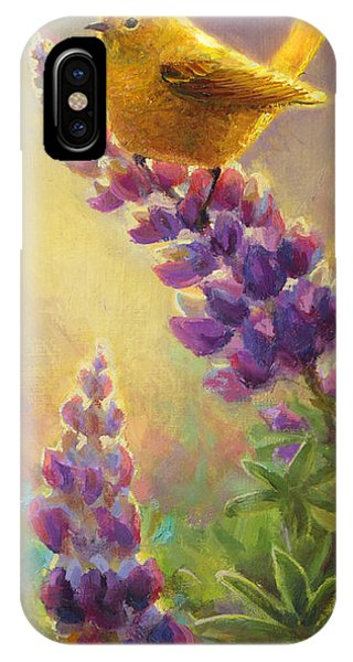 Golden Light 2 Wilsons Warbler And Lupine IPhone Case