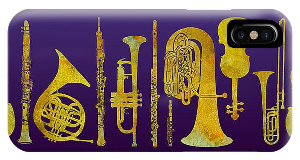 Trombone iPhone X Case - Golden Orchestra by Jenny Armitage