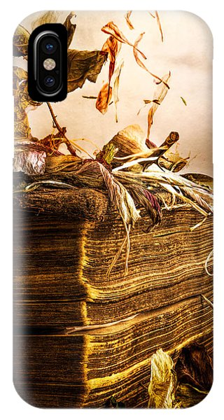 Poetry iPhone Case - Golden Pages Falling Flowers by Bob Orsillo